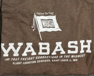 Ringaboy-Mens-T-Shirt-Wabash-Railroad-New-With-Tags-Size-2XL-Brown