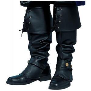 Dettagli su Stivali Uomo Scarpe Ghette Top Copri Pirata Coloniali Rinascimento Costume Nero
