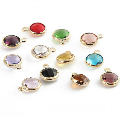 10pcs New Crystal Birthstones Gem Charms Pendant Double-Side DIY Jewelry 8mm