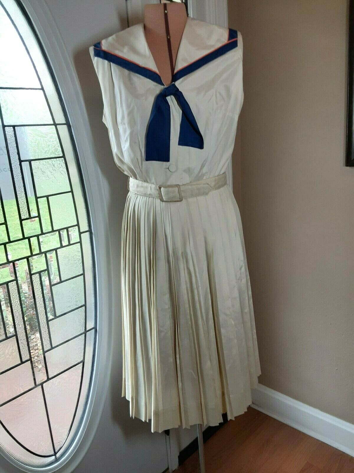 "Vintage 50s ""Norman Wiatt California"" DRESS Off-W… - image 1"