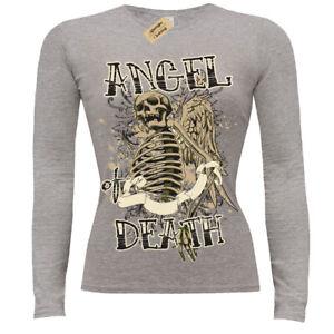 Angel of Death T-Shirt skeleton gothic skull skeleto T-Shirt Womens Ladies Scoop