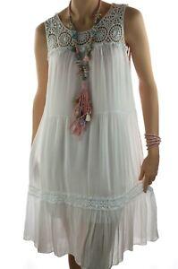 huge selection of 94a5c d9438 Details zu ITALY Sommer Kleid IBIZA Hippie Strandkleid mit Spitze Weiß 38  40 42 Neu