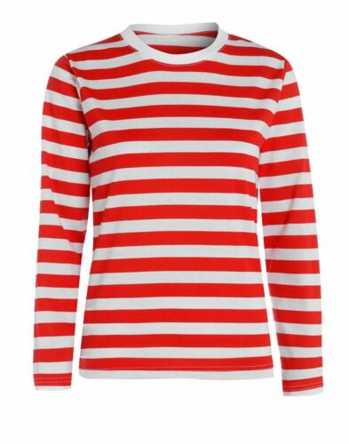 Red And White Stripe T-Shirt Mens Boys Full Sleeve Top Book Week Fancy Dress