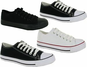 Men-Flat-Plimsolls-Lace-Up-Pumps-Boys-Casual-Canvas-Trainers-Shoes-Size-7-12
