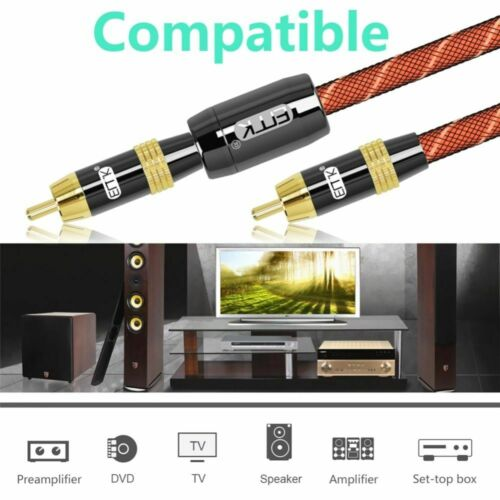 RCA to RCA Male to Male Digital Coaxial Cable Stereo Audio Cable OD8.0 Braided