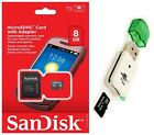 Sandisk 8GB Micro SD SDHC MicroSD Flash Memory with Adapter + USB Card Reader