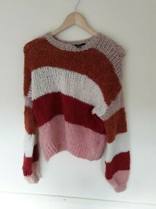 New-Look-Multicoloured-Striped-Mohair-Jumper-Size-S