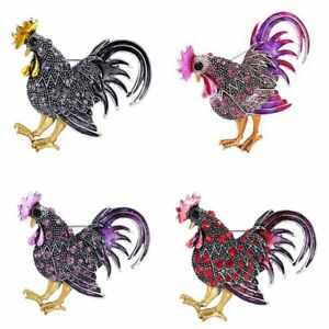Fashion Colorful Crystal Cock Animal Brooch Pins Jewellery Womens Accessories