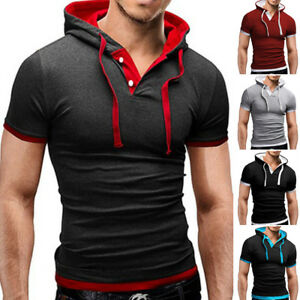 Mens-Slim-Fit-Short-Sleeve-Shirts-Hooded-Muscle-Tops-Hoodie-Solid-Casual-T-shirt