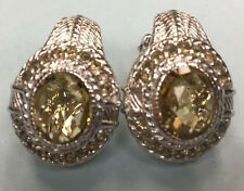 Judith Ripka Sterling Silver Citrine Clip on Earrings