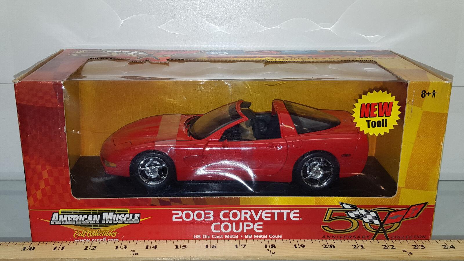 1 18 ertl american muscle 2003 CHEVROLET CORVETTE Coupé Rouge avec Top Q2