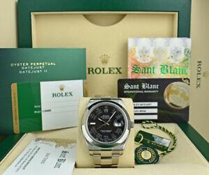 ROLEX-Mens-Stainless-Steel-DateJust-II-Black-Roman-Dial-CARD-116300-SANT-BLANC