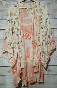 Z-amp-L-Europe-Women-039-s-Open-Front-Kimono-Free-Size-Cream-Orange-Boho-Hippie-Peasant