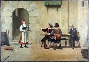 Jose-Alsina-Espagnol-1850-Ancien-Tableau-Peinture-Huile-Original-Painting