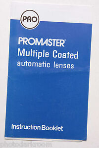 Promaster MC Automatic Lenses Instruction Manual Book - English - USED B48