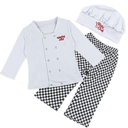 Bébé Garçons Cook Chef tenue Shirts Pantalon Chapeau Fête Déguisement Cosplay 3PCS