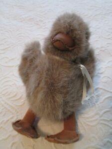 Gund-1986-Plush-Chicken-Chick-Baby-Suede-Feet-Leather-Beak-Stuffed-Toy-Tan