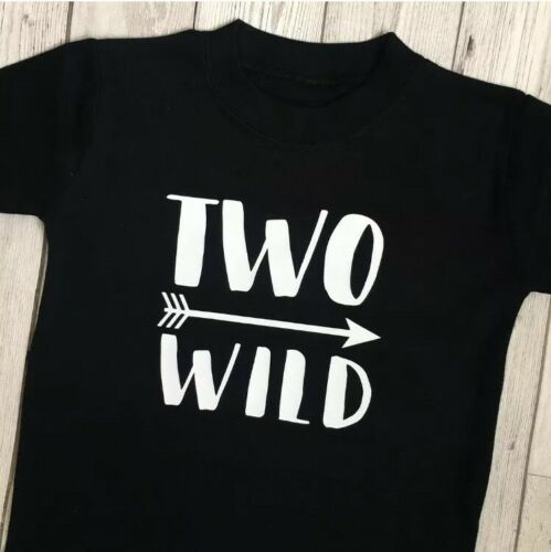Second Birthday Tshirt 2nd Two Outfit Two Wild Boys Girls Top