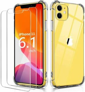 For iPhone 11 / 11 Pro / 11 Pro Max Case Soft Clear Shockproof Cover Free Glass