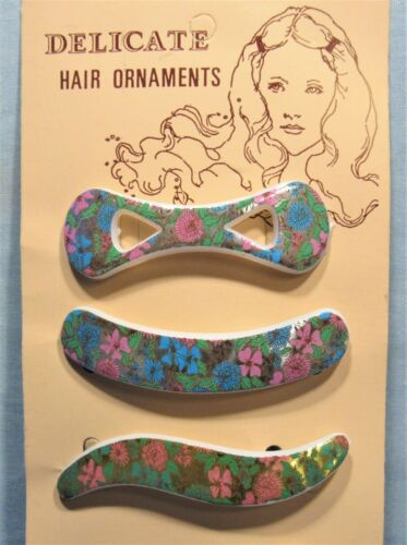 Flowered Vintage Barrettes ~ Hippie Style 1960's Dime Store Display Card of 6