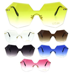 aec4819c17 Image is loading Womens-Rimless-Squared-Octagon-Butterfly-Color-Sunglasses