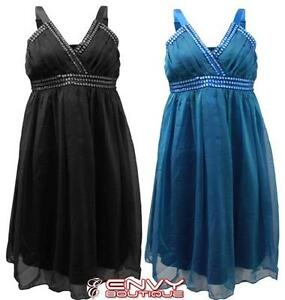 NEW-WOMENS-STUD-MESH-FRILL-SLEEVELESS-CHIFFON-PARTY-GRECIAN-DRESS-TOP-SIZE-10-12