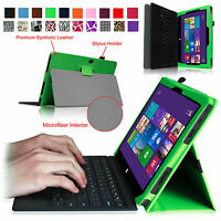 """PU Leather Folio Case Cover for Microsoft Windows Surface Pro Pro 2 Tablet 10.6"""""""