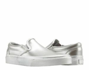 5e11292a0d Image is loading Vans-Classic-Slip-On-Metallic-Sidewall-Silver-Low-