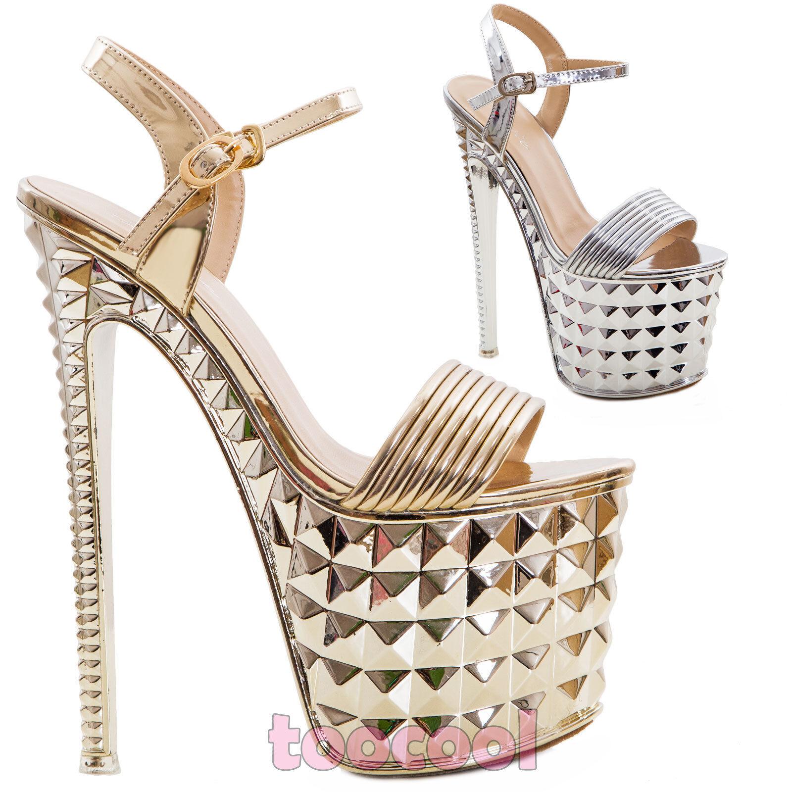 Chaussures femmes Sandales Polis Hauts Talons Compensé Talon 20 Sexy Neuf 52306
