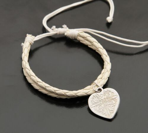 Bracelet bresilien cuir tresse avec breloque coeur blanc creme BB385
