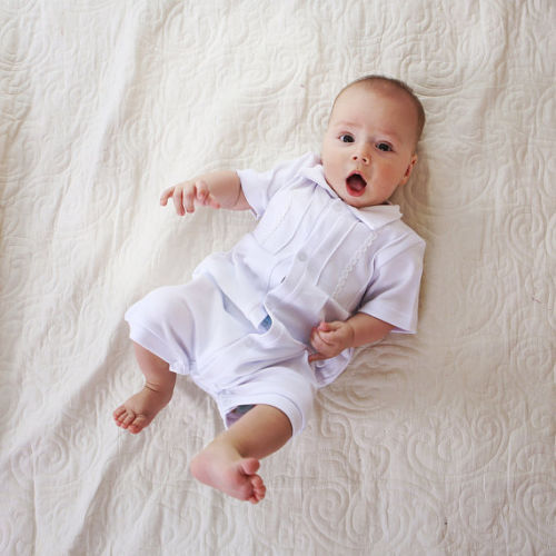 Baby Boy Romper Baptism Outfit Handmade Infant Bodysuit White Cotton Clothes