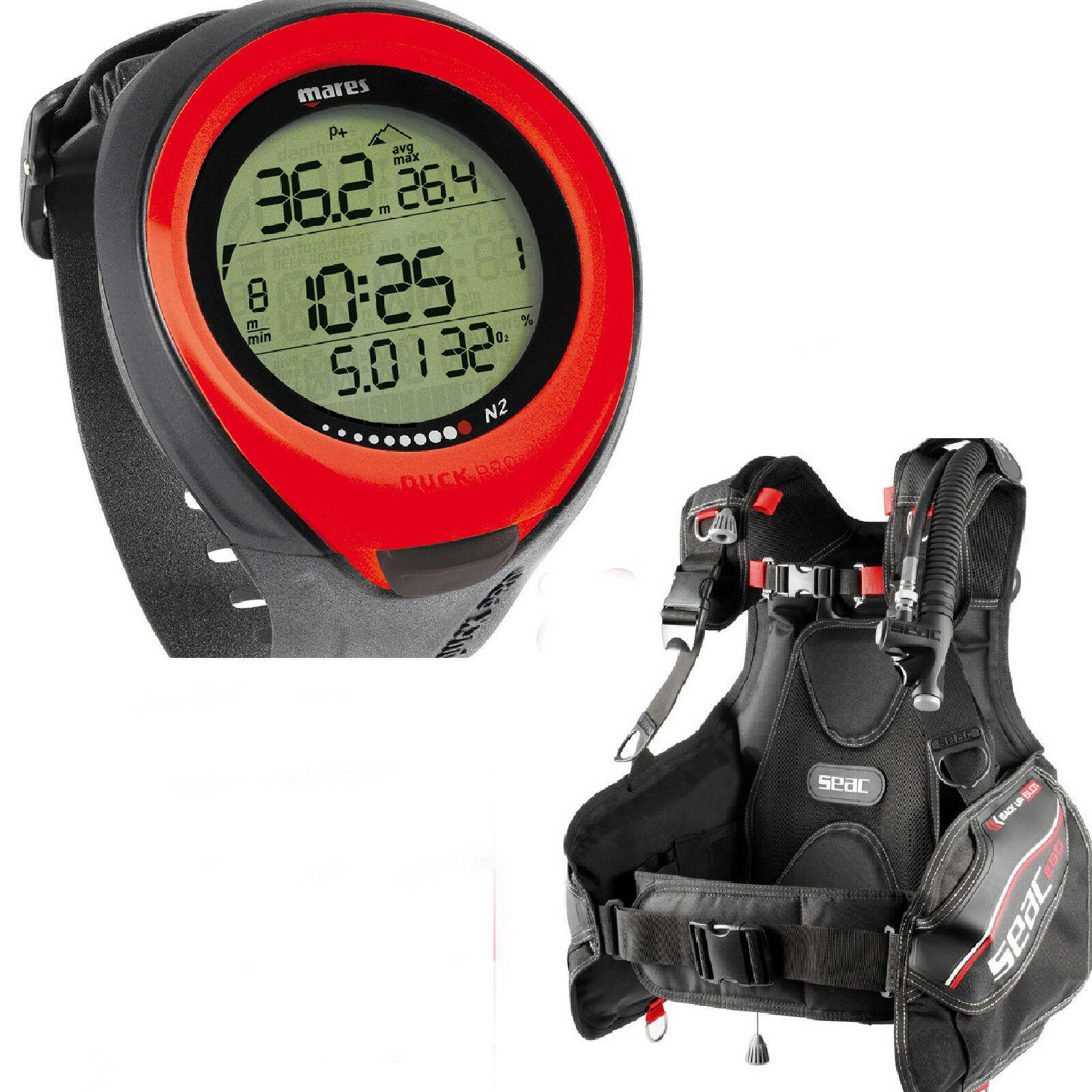 LO3 SEAC SUB BCD EGO + COMPUTER MARES PUCK PRO rot  MORE ECONOMIC KIT