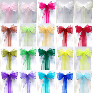 Details about 10 100Set Organza Sashes Chair Cover Tulle Tie Ribbon Wedding Party 22 Colours