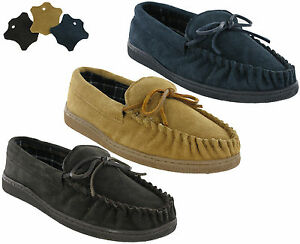 Moccasin-Slippers-Genuine-Leather-Flat-Slip-On-Suede-Outdoor-Mens-UK6-12