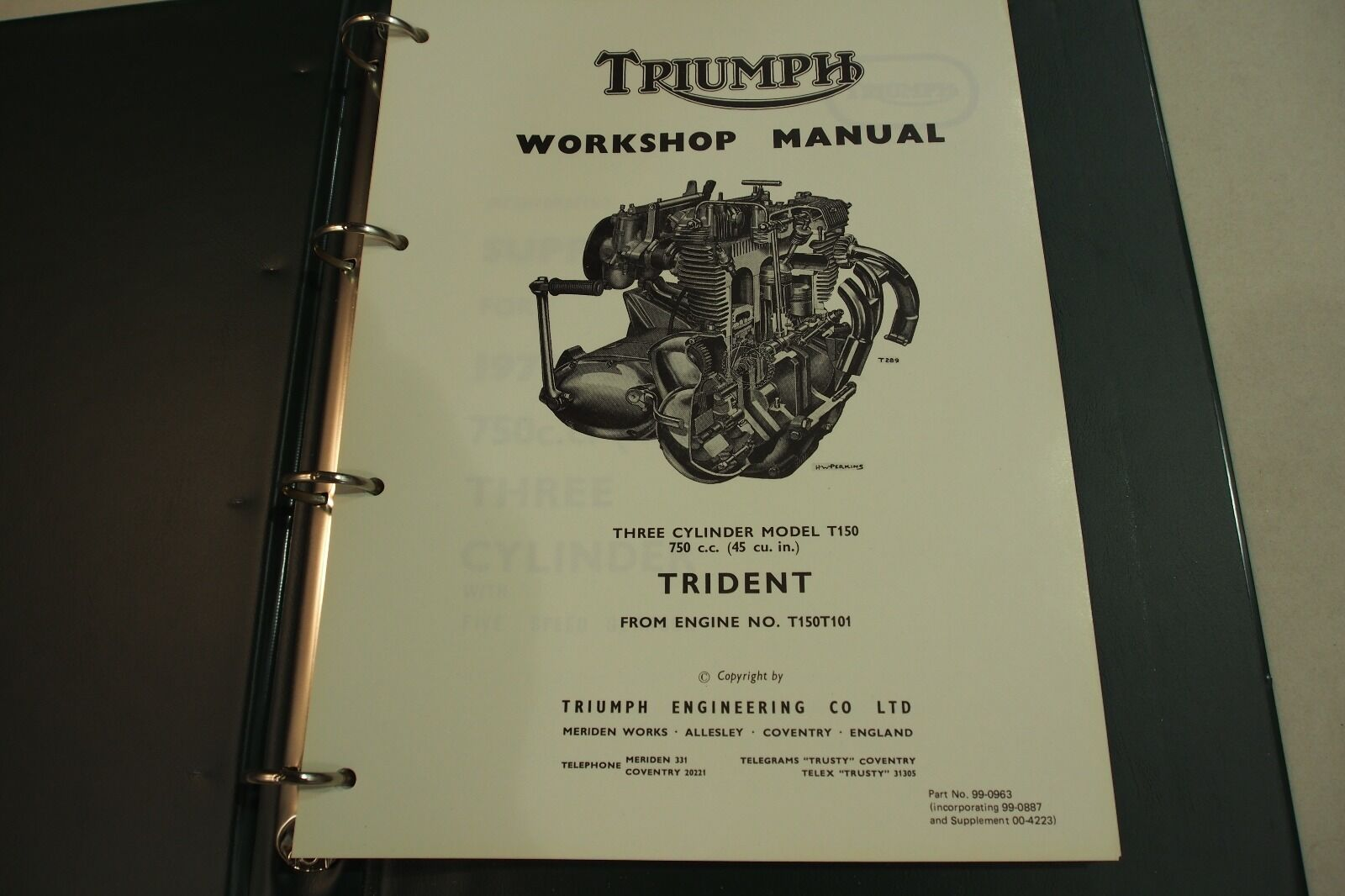 Triumph Trident T150 Genuine Workshop Manual and Illustrated Parts List  1974 | eBay