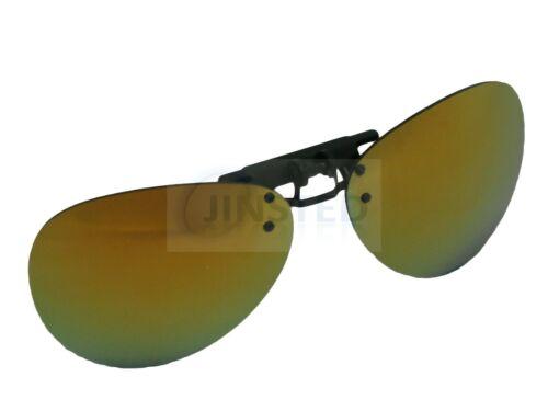 Reflective Mirrored Pilot Clip on Flip up Sunglasses Sunnies Shade ACP031