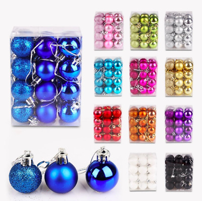 24Pcs Christmas Tree Balls Small Bauble Hanging Home Shop Party Ornament Decor
