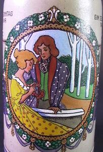 Bierkrug STEIN Maßkrug um 1900 - Liebespaar - 2fach signiert - TH / OH - Emaille