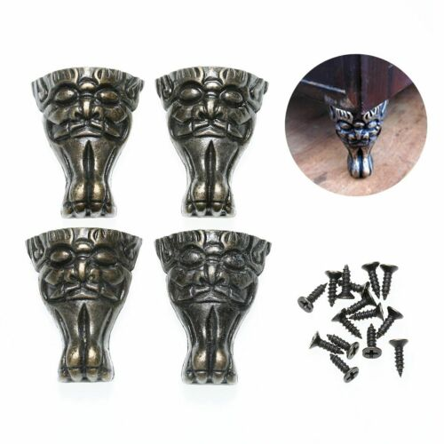 4Pcs Antique Brass Jewelry Chest Wood Box Feet Leg Corner Protector Decorative