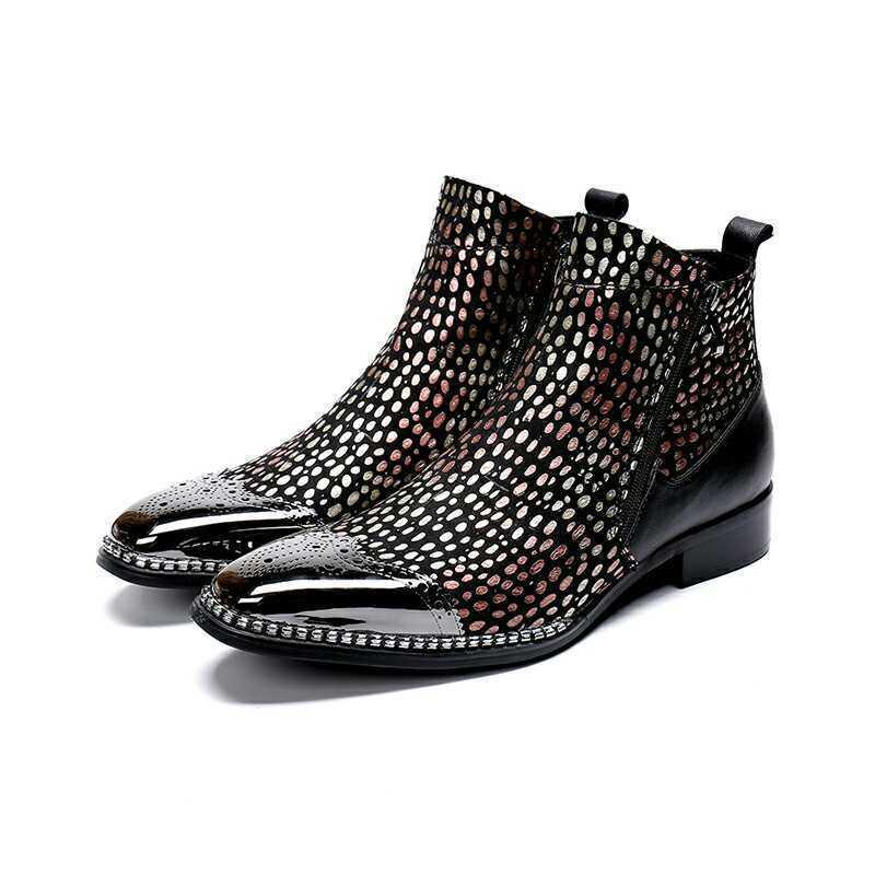 Para Hombre botas Al Tobillo Brillo Puntera rojoonda Zapatos De Tacón Bloque Punk de Cuero De Invierno Zapatos Talla