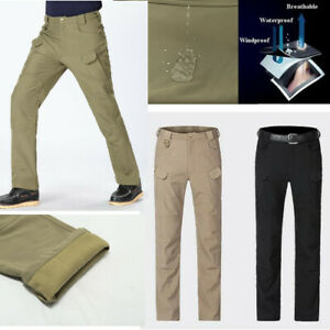 Mens-SoftShell-Military-Tactical-Combat-Cargo-Pants-Waterproof-Casual-Trousers