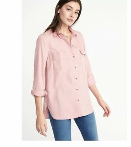 Women-039-s-Old-Navy-Tencel-long-sleeve-utility-relaxed-fit-L-S-shirts-35-price-NWT