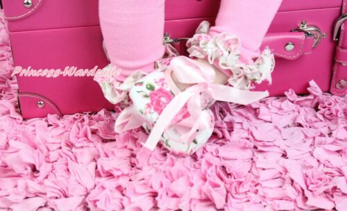 Valentine/'s Day Light Pink Floral Rose Ribbon Newborn Baby Crib Shoes NB-18Month