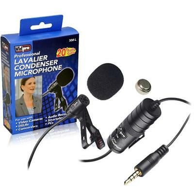 Electret Condenser Transducer type 20 Audio Cable Panasonic NV-DS38 Camcorder External Microphone Vidpro XM-L Wired Lavalier microphone