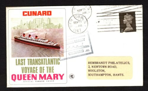 1967 LAST TRANSATLANTIC VOYAGE OF THE QUEEN MARY POSTED ON THE HIGH SEAS