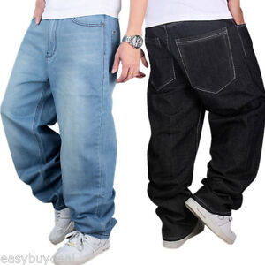 530ed905f04ba Plus Size Cool Men Jeans Baggy Hip Hop Rap Denim Pants Casual Loose ...