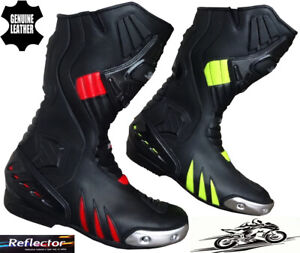 MENS-RED-HiViz-amp-BLACK-MOTORBIKE-MOTORCYCLE-CE-RACING-BOOTS-LONG-SPORTS-SHOES