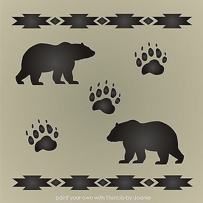 Stencil Rustic Bear Paw Print Animal Track Cabin Lodge Outdoor Mountain  Country | eBay
