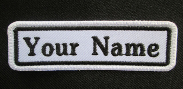 4c95536b56a5 Rectangular Custom Embroidered Name Tag Iron / Sew on Patch White Background