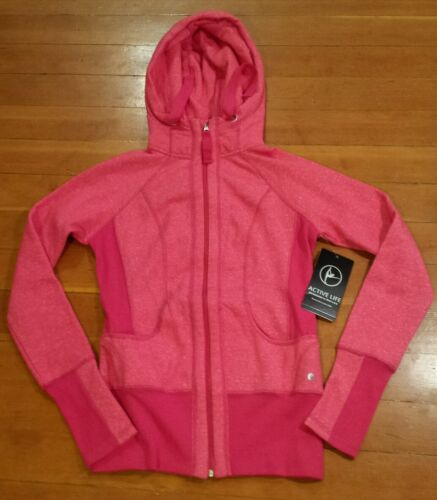 NWT Womens ACTIVE LIFE Pink Heathered Full Zip Hooded Sweater Jacket Size Medium